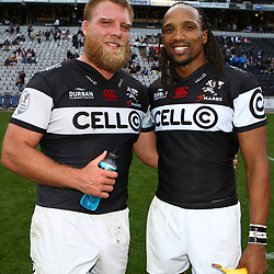 Ross Geldenhuys with Odwa Ndungane of the Cell C Sharks during The Cell C Sharks and Western Province Currie Cup match at Growthpoint Kings Park in Durban, South Africa. 14th October 2017(Photo by Steve Haag)