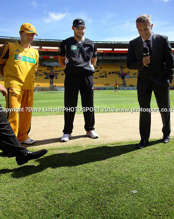 NZ captain Daniel Vettori watches as Australian captain Ricky Ponting (left) wins yet another coin toss as Sky's Mark Richardson (right) looks on.<br /> Fifth Chappell-Hadlee Trophy one-day international cricket match - New Zealand v Australia at Westpac Stadium, Wellington. Saturday, 13 March 2010. Photo: Dave Lintott/PHOTOSPORT