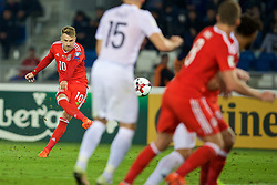 TBILSI, GEORGIA - Friday, October 6, 2017: Wales' Aaron Ramsey during the 2018 FIFA World Cup Qualifying Group D match between Georgia and Wales at the Boris Paichadze Dinamo Arena. (Pic by David Rawcliffe/Propaganda)