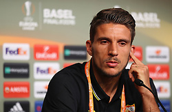BASEL, SWITZERLAND - Tuesday, May 17, 2016: Sevilla's Daniel Carrico during a press conference ahead of the UEFA Europa League Final against Liverpool FC at St. Jakob-Park. (Pic by UEFA/Pool/Propaganda)