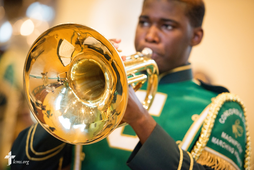Members of the marching band practice in the gymnasium at Concordia College Alabama on Tuesday, August 18, 2014, in Selma, Ala.  LCMS Communications/Erik M. Lunsford