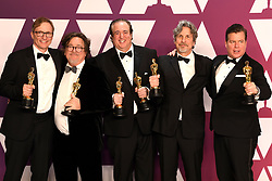 "Jim Burke, Charles B. Wessler, Brian Currie, Peter Farrelly and Nick Vallelonga winners of the awards for Best Picture and Best Original Screenplay for ""Green Book"" at the 91st Annual Academy Awards"