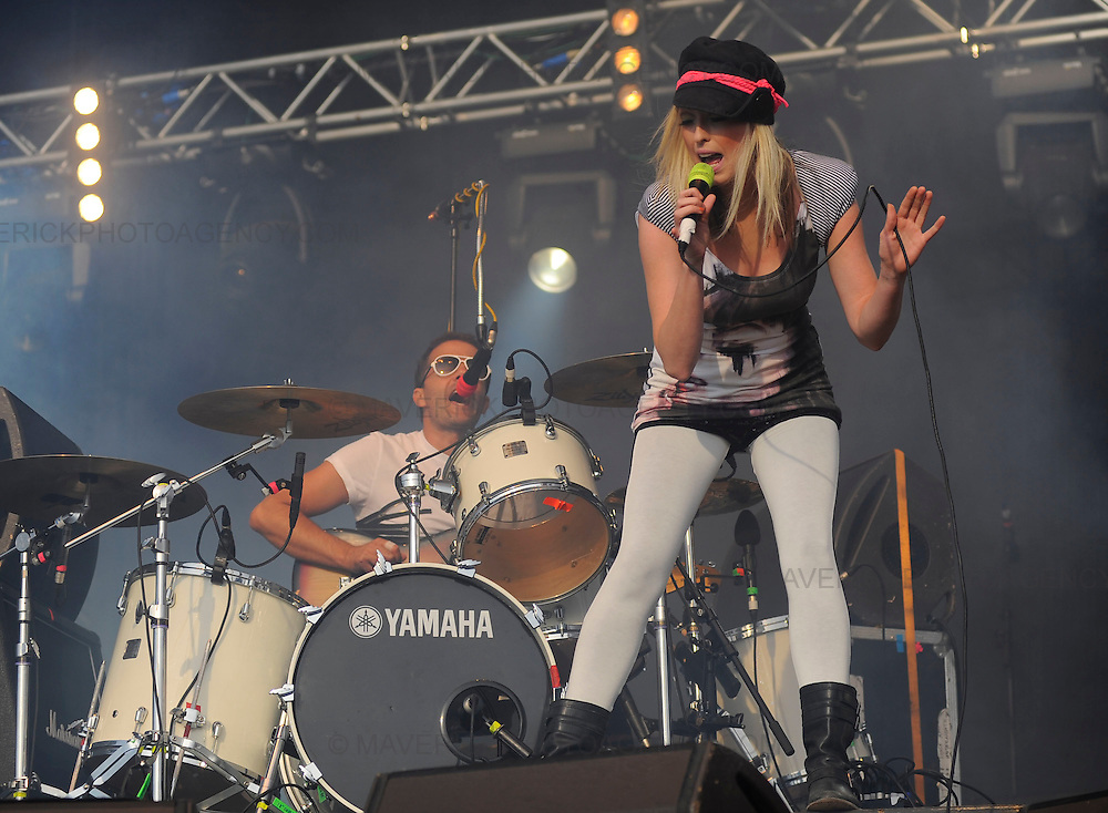 The Ting Tings play live at T in the Park music festival in Kinross, Perthshire - 11th July 2009.  Pictured singer Katie White and drummer Jules De Martino.