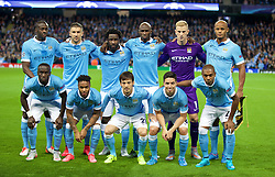 MANCHESTER, ENGLAND - Tuesday, September 15, 2015: Manchester City's players line up for a team group photograph before the UEFA Champions League Group D match against Juventus at the City of Manchester Stadium. Back row L-R:  Yaya Toure, Aleksandar Kolarov, Wilfried Bony,  Eliaquim Mangala, goalkeeper Joe Hart, captain Vincent Company; Front row L-R: Bacary Sagna, Raheem Sterling, David Silva, Samir Nasri, Fernando Luiz Roza 'Fernandinho'. (Pic by David Rawcliffe/Propaganda)