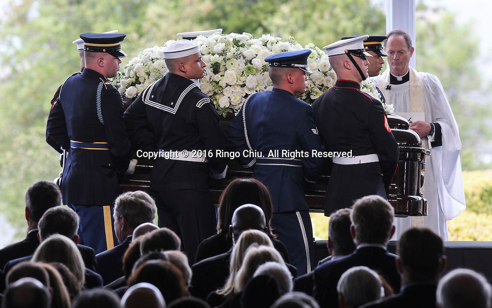 Pallbearers carrying the casket arrival during a funeral service for the former first lady Nancy Reagan at the Ronald Reagan Presidential Library and Museum in Simi Valley, California on March 11, 2016. Reagan died of congestive heart failure in her sleep at her Bel Air home Sunday at age 94. A bout 1,000 guests from the world of politics attended the final farewell to Nancy Reagan as the former first lady is eulogized and laid to rest next to her husband at his presidential library.<br />    (Photo by Ringo Chiu/PHOTOFORMULA.com)<br /> <br /> Usage Notes: This content is intended for editorial use only. For other uses, additional clearances may be required.