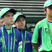 March 1, 2014, Palm Springs, California: <br /> Ball kids listen to instructions during Kids Day at the Indian Wells Tennis Garden sponsored by the Coachella Valley National Junior Tennis and Learning Network.<br /> (Photo by Billie Weiss/BNP Paribas Open)