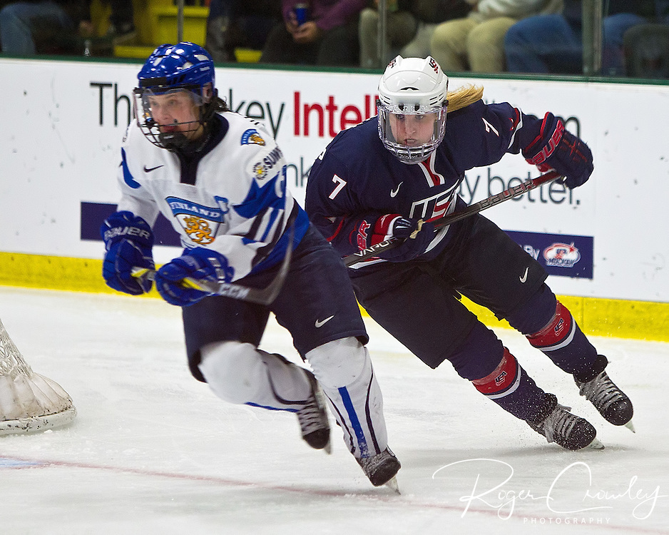 2012 IIHF Woman's World Championship Group A Preliminary Round between Team USA and Team Finland on April 10, 2012 at Gutterson Fieldhouse in Burlington Vermont. USA won 11-0.