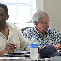 RAY VAN DUSEN/BUY AT PHOTOS.MONROECOUNTYJOURNAL.COM<br /> Aberdeen Ward 3 Alderman David Ewing, left, and Ward 4 Alderman Brunson Odom are pictured from last week's board meeting, which included action regarding setting a date for a special election for the vacant Ward 2 seat.