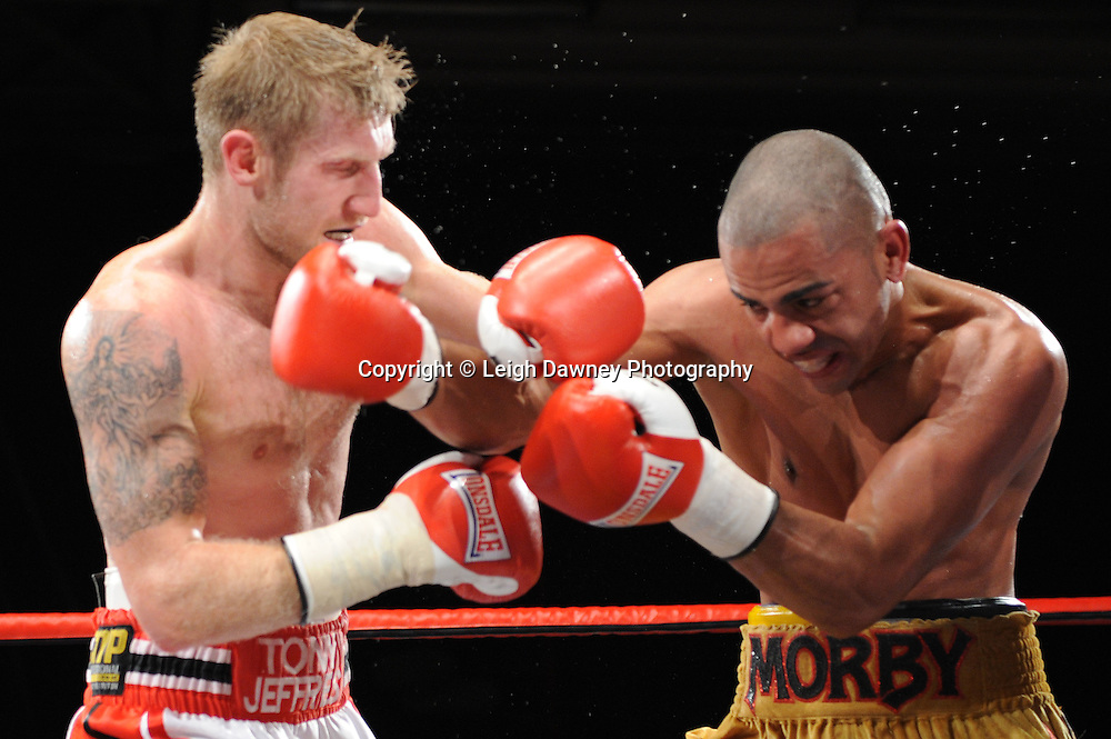Tony Jeffries defeats Paul Morby in a Light Heavyweight contest at the Doncaster Dome, Doncaster, UK, 3rd September 2011. Frank Maloney Promotions. Photo credit: Leigh Dawney 2011