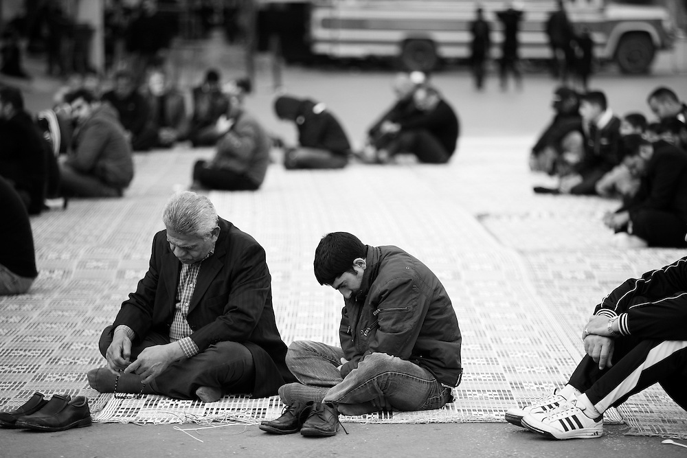 Not everyone can fit inside the mosque to listen to the story of Imam Hussein's martydom.