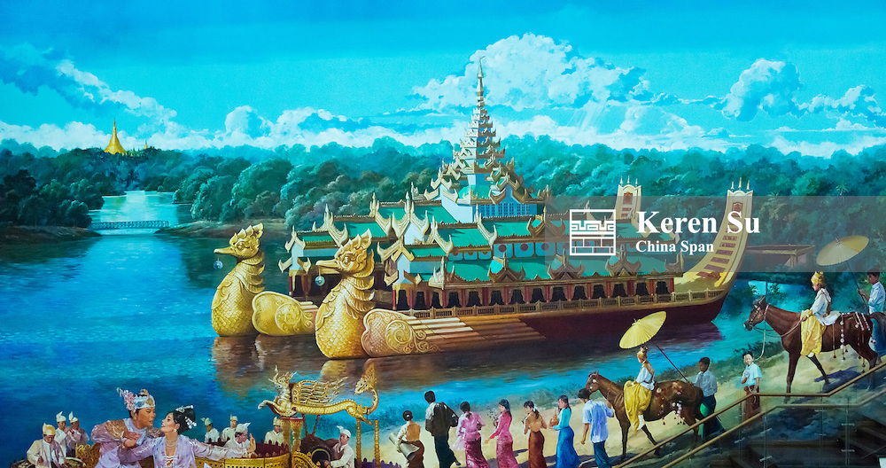Historic painting of Karaweik Hall, a palce on the eastern shore of Kandawgyi Lake, now a floating boat restaurant, Yangon, Myanmar