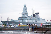 The British Royal Navy HMS Diamond (D34), the third ship of the Type 45 air-defense warship destroyers built for the British Royal Navy by BAE Systems docked in HMNB Portsmouth, Hampshire, UK.
