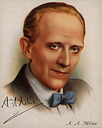 Alan Alexander (AA) Milne (1882-1956), English author best known for his creation of 'Winnie-the-Pooh' (1926). From a series of cards of 'Famous British Authors' (London, 1937).