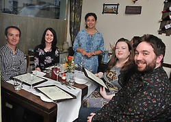 Eva Ivnova from Sage Resturant Westport welcomes  David Hickey, Eileen O'Connor Keith Bourke and Siobhan Food to their 'Secret Supper' location as part of the Westport Food Festival program.<br /> Pic Conor McKeown