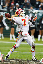 November 7, 2010; Oakland, CA, USA;  Kansas City Chiefs quarterback Matt Cassel (7) throws the ball against the Oakland Raiders during the first quarter at Oakland-Alameda County Coliseum. Oakland defeated Kansas City 23-20 in overtime.