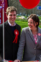 Pictured: Daniel Johnston and Kezia Dugdale<br /> <br /> Scottish Labour leader Kezia Dugdale was joined by Edinburgh Southern candidate Daniel Johnson for campaigning and a walkabout in the Meadows. <br /> <br /> Ger Harley | EEm 17 April 2016