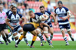 Mitch Eadie of Bristol Rugby takes on the Pirates defence - Photo mandatory by-line: Patrick Khachfe/JMP - Mobile: 07966 386802 21/09/2014 - SPORT - RUGBY UNION - Bristol - Ashton Gate - Bristol Rugby v Cornish Pirates - GK IPA Championship.