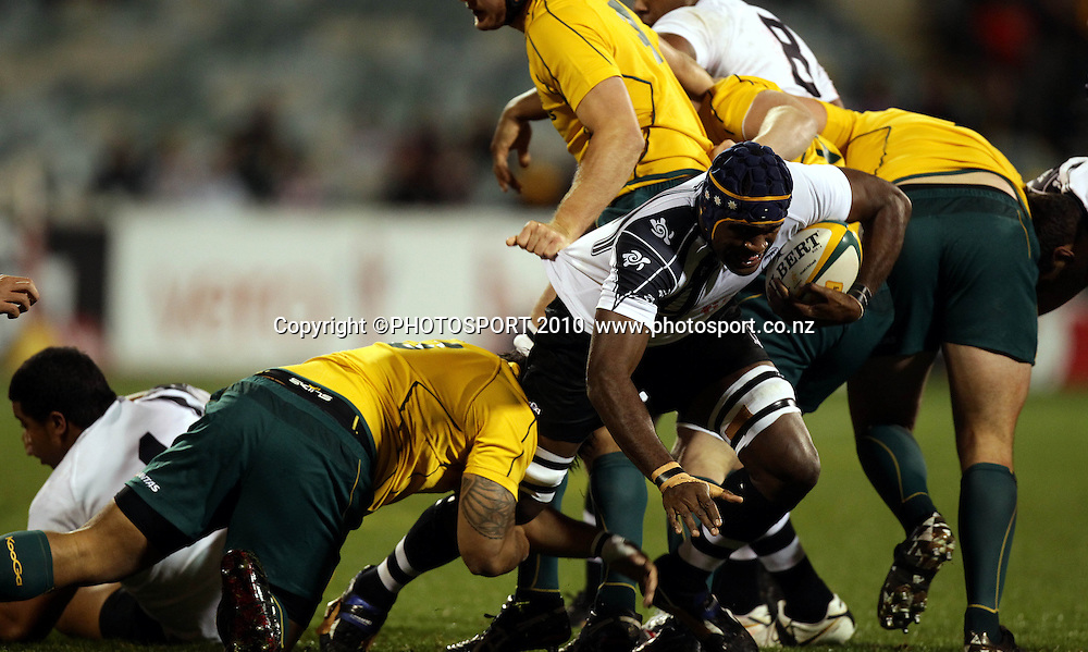 Sekonaia Qaraniqio tackled by SAlesi Ma'afu<br /> <br /> International Test rugby union match, Australia v Fiji, Canberra, Australia. Saturday 5 June 2010. Photo: Paul Seiser/PHOTOSPORT