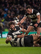 Twickenham, United Kingdom, Saturday, 1st December, 2018, RFU, Rugby, Stadium, England, Baa-Baas, No.5,  Lood de Jager, celebraes with team mates after scoring a second Half Try, during the Killik Cup match at Twickenham, Baa-Baas vs Argentina, © Peter Spurrier