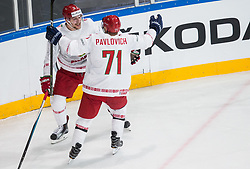 Ilya Shinkevich of Belarus and Alexander Pavlovich of Belarus celebrate after scoring fourth goal during the 2017 IIHF Men's World Championship group B Ice hockey match between National Teams of Slovenia and Belarus, on May 13, 2017 in AccorHotels Arena in Paris, France. Photo by Vid Ponikvar / Sportida