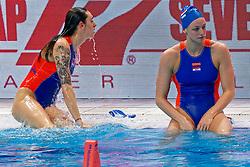 Catharina Van Der Sloot #4 of Netherlands, Maartje Keuning #9 of Netherlands during the semi final Netherlands vs Russia on LEN European Aquatics Waterpolo January 23, 2020 in Duna Arena in Budapest, Hungary