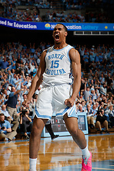 CHAPEL HILL, NC - FEBRUARY 05: Garrison Brooks #15 of the North Carolina Tar Heels celebrates during a game against the North Carolina State Wolfpack on February 05, 2019 at the Dean Smith Center in Chapel Hill, North Carolina. North Carolina won 113-96. North Carolina wore retro uniforms to honor the 50th anniversary of the 1967-69 team. (Photo by Peyton Williams/UNC/Getty Images) *** Local Caption *** Garrison Brooks
