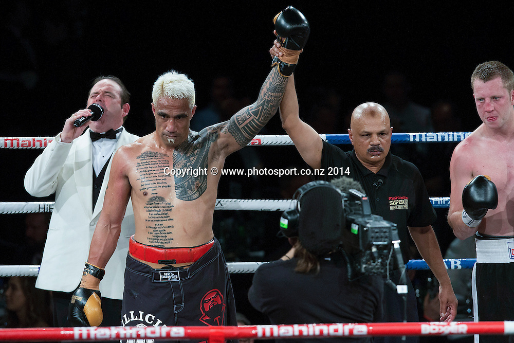 Monty Filimaea wins his fight against James Emerson in the Mahindra Super 8 Fight Night, North Shore Events Centre, Auckland, New Zealand, Saturday, November 22, 2014. Photo: David Rowland/Photosport