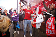 Liverpool Team Bus is welcomed by their fans for the Premier League match between Liverpool and Manchester United at Anfield, Liverpool, England on 19 January 2020.