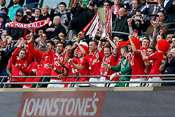 Bristol City captain Aaron Wilbraham and his teammates win the match 2-0 - Photo mandatory by-line: Rogan Thomson/JMP - 07966 386802 - 22/03/2015 - SPORT - FOOTBALL - London, England - Wembley Stadium - Bristol City v Walsall - Johnstone's Paint Trophy Final.