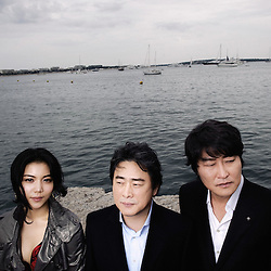 "From left to right: Ok-bin Kim, Park Chan Wook and Kang-ho Song presenting their movie ""Thirst"" (Bakjwi) at the Cannes Film Festival. France. May 2009. Photo: Antoine Doyen"