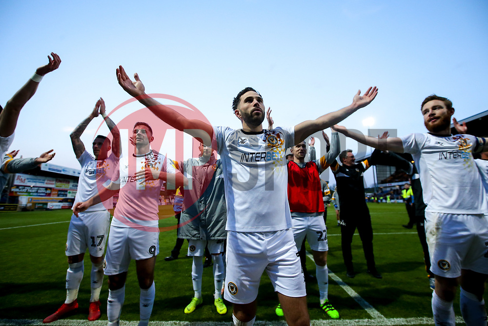 Robbie Willmott of Newport County leads a thunder clap to celebrate winning through to the Sky Bet League Two Playoff Final - Mandatory by-line: Robbie Stephenson/JMP - 12/05/2019 - FOOTBALL - One Call Stadium - Mansfield, England - Mansfield Town v Newport County - Sky Bet League Two Play-Off Semi-Final 2nd Leg