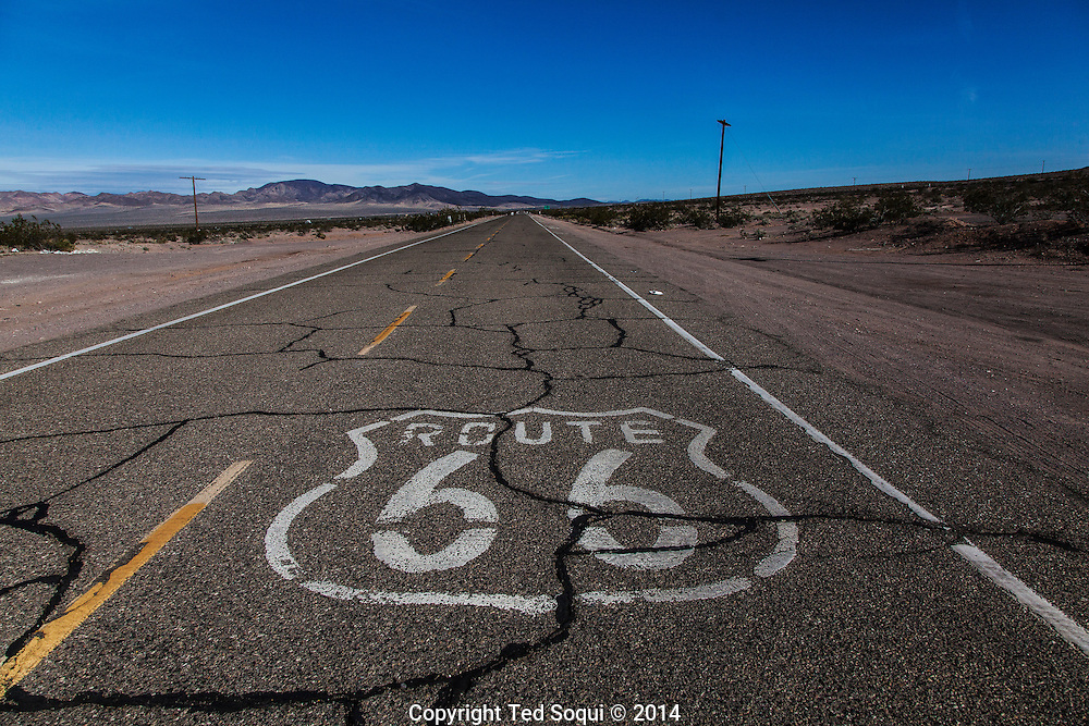 U.S. Route 66, also known as the Mother Road, in the Mojave desert of California. The two major connector cites in the Mojave desert are Barstow and Amboy. U.S. Route 66 was the first major east west highway for the US, starting in Chicago, Il and ending in Santa Monica, CA. The 2,448 mile long highway was built in November 11,1926. Most of Route 66 has been decommissioned, but there are several parts that are now historically preserved.