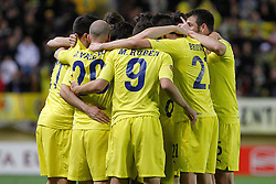 17.03.2011, El Madrigal, Villarreal, ESP, UEFA EL, FC Villarreal vs Bayer 04 Leverkusen, im Bild Villareal's players celebrate goal during UEFA Europa League match.March 17,2011. . EXPA Pictures © 2011, PhotoCredit: EXPA/ Alterphotos/ Acero +++++ ATTENTION - OUT OF SPAIN / ESP +++++