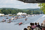 Henley on Thames, England, United Kingdom, Sunday, 07.07.19,<br /> Leander Club and Oxford Brookes University (top) and Waiariki Rowing Club, New Zealand (bottom) passing Stewards' Enclosure, in the Final of the Grand Challenge Cup, <br /> Henley Royal Regatta,  Henley Reach, [©Karon PHILLIPS/Intersport Images]<br /> <br /> 15:35:56 1919 - 2019, Royal Henley Peace Regatta Centenary,