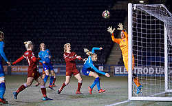 WIDNES, ENGLAND - Wednesday, February 7, 2018: Arsenal Ladies' goalkeeper Sari van Veenendaal during the FA Women's Super League 1 match between Liverpool Ladies FC and Arsenal Ladies FC at the Halton Stadium. (Pic by David Rawcliffe/Propaganda)