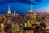 Skyline of Midtown Manhattan at twilight, New York, New York USA.