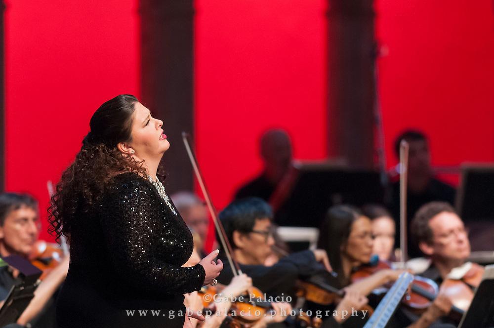 Angela Meade, soprano, performs Lucrezia Borgia by Gaetano Donizetti in the  Venetian Theater at Caramoor in Katonah New York on July 12, 2014. <br /> (photo by Gabe Palacio)