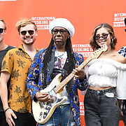 Nile Rodgers opening the London Mayor of the International Busking Day with talents at Wembley Park on July 21 2018.