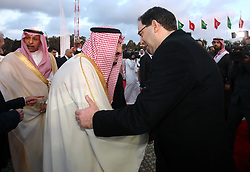 March 28, 2019 - Tunis, Tunisia - Prime Minister Youssef Shahid welcomes the King of Saudi Arabia at the airport .... .....King Salman bin Abdulaziz, Custodian of the Two Holy Mosques and ruler of Saudi Arabia arrived here Thursday evening on a state visit in Tunisia. President Béji Caïd Essebsi was at his reception on his descent from the royal plane..At the Pavilion of Honor, an official welcoming ceremony with the salute of the national flag to the sounds of the two countries' anthems was organized in honor of the Saudi guest who was also greeted by the head of government Youssef Chahed. (Credit Image: © Chokri Mahjoub/ZUMA Wire)