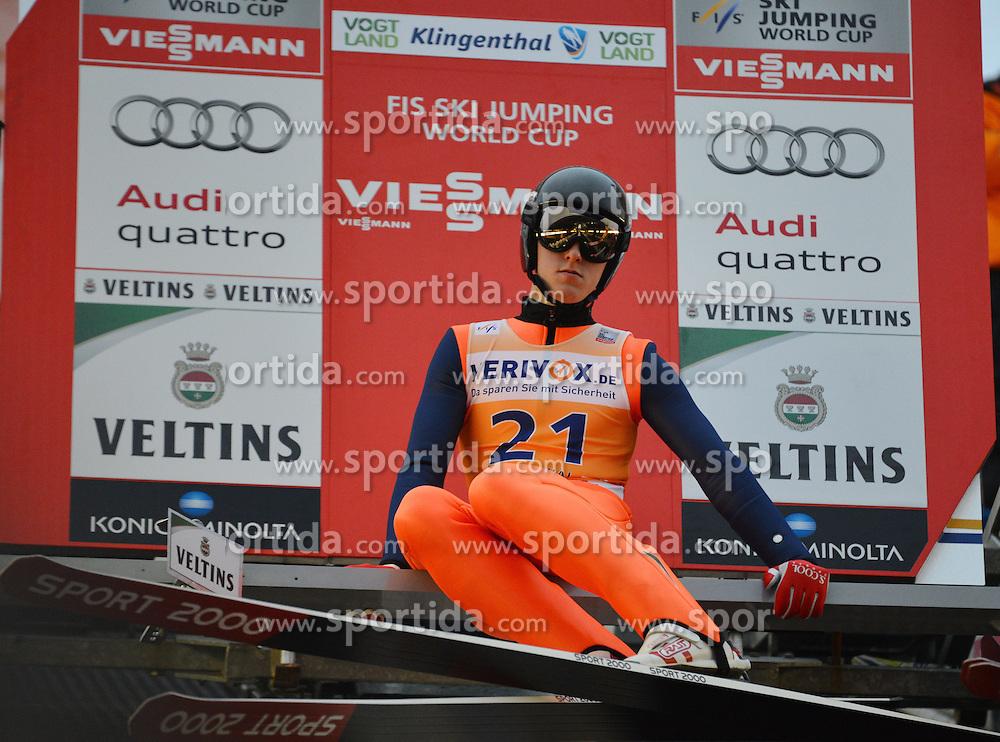 21.11.2014, Vogtland Arena, Klingenthal, GER, FIS Weltcup Ski Sprung, Klingenthal, Herren, HS 140, Qualifikation, im Bild Nick Fairall (USA) // during the mens HS 140 qualification of FIS Ski jumping World Cup at the Vogtland Arena in Klingenthal, Germany on 2014/11/21. EXPA Pictures &copy; 2014, PhotoCredit: EXPA/ Eibner-Pressefoto/ Harzer<br /> <br /> *****ATTENTION - OUT of GER*****