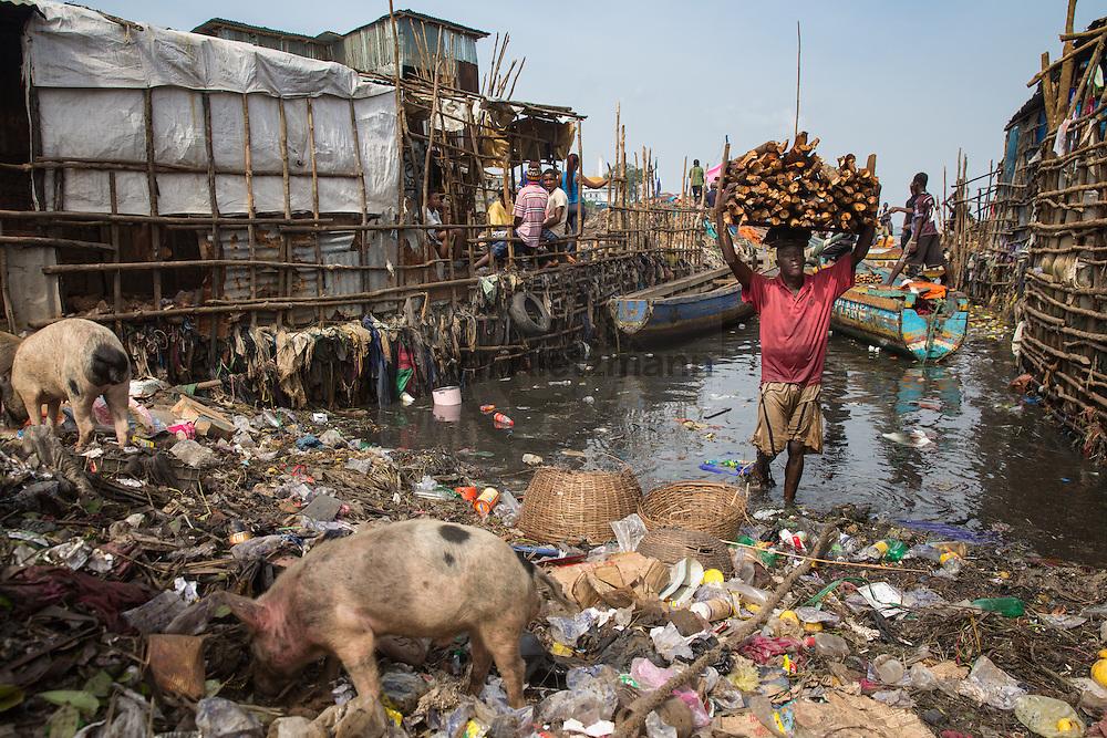 Freetown (Sierra Leone) / Bjoern Kietzmann / 17.11.2015 - Ein junger Mann traegt Holz an Land des Susan's Bay Slums. Eindruecke aus den Slums der sierra leonischen Hauptstadt Freetown.