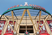 ANAHEIM, CA - MAY 15:  The main entrance of the Los Angeles Angels of Anaheim stadium is shown during the game against the Oakland Athletics on Tuesday, May 15, 2012 at Angel Stadium in Anaheim, California. The Angels won the game 4-0. (Photo by Paul Spinelli/MLB Photos via Getty Images)