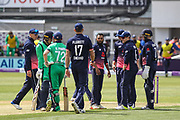 After a review, Adil Rashid of England takes the wicket of Gary Wilson of Ireland, LBW, during the One Day International match between England and Ireland at the Brightside County Ground, Bristol, United Kingdom on 5 May 2017. Photo by Andrew Lewis.
