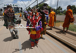 June 16, 2018 - Dan Sai, Loei province, Thailand - Thais wear masks representing the spirits of the dead springing back to life during the annual Phi Ta Khon, or Ghost festival in Dan Sai, Loei province, northeast of Bangkok on June 16, 2018. The event was held to promote tourism in Thailand. (Credit Image: © Chaiwat Subprasom/NurPhoto via ZUMA Press)