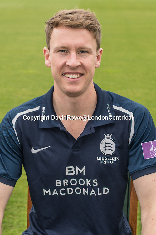 11 April 2018, London, UK.  Sam Robson of Middlesex County Cricket Club in the   blue Royal London one-day kit . David Rowe/ Alamy Live News