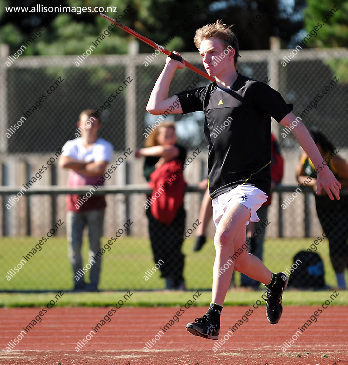 Lucas Horton runs in with a javelin, at the SouthIsland secondary schools athletics championships, Invercargill Southland New Zealand, 6 April 2013