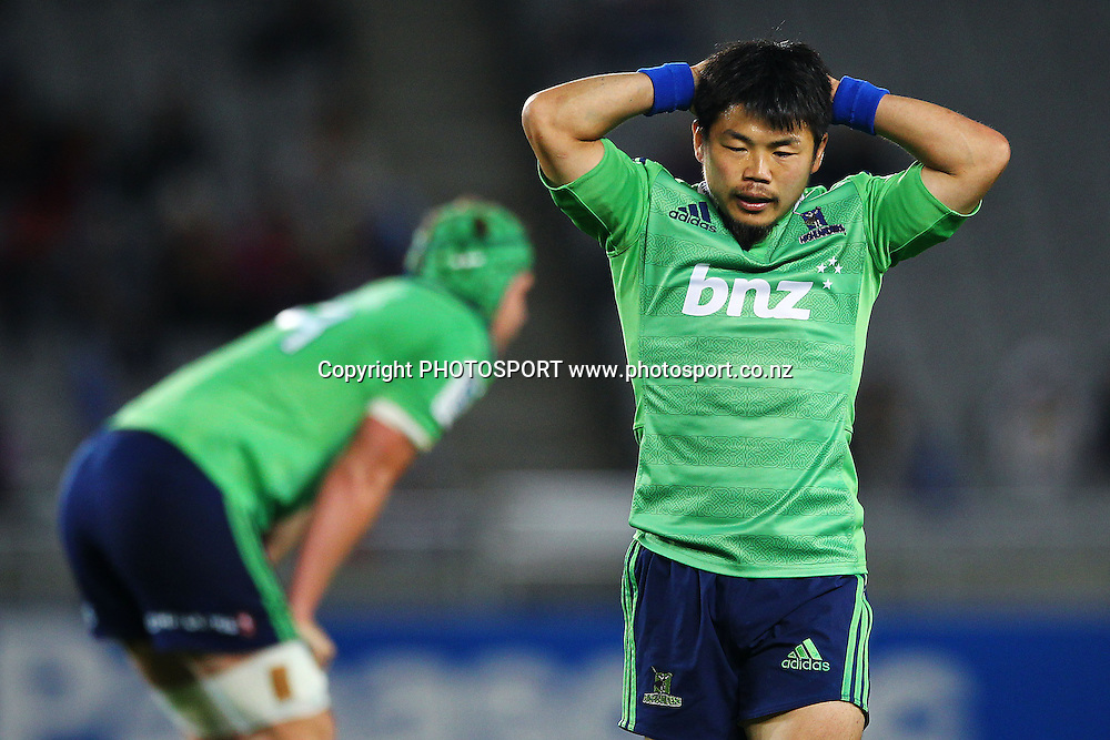 Fumiaki Tanaka of the Highlanders reacts. Super Rugby rugby union match, Blues v Highlanders at Eden Park, Auckland, New Zealand. Saturday 29th March 2014. Photo: Anthony Au-Yeung / photosport.co.nz