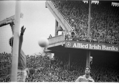 The All Ireland Senior Football Final.1982.19.09.1982.09.19.1982.19th September 1982..The senior final was contested between Offaly and Kerry. Offaly won the title by the narrowest of margins 1.15 to 17 points..Offaly goalkeeper Martin Furlong turns the ball around the post while his defender looks on,