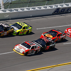April 17, 2011; Talladega, AL, USA; NASCAR Sprint Cup Series drivers Jeff Burton (31), Paul Menard (27), Dave Blaney (36), Regan Smith (78), Jamie McMurray (1) and Juan Pablo Montoya (42) during the Aarons 499 at Talladega Superspeedway.   Mandatory Credit: Derick E. Hingle