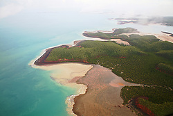 Aerial view of Kingfisher Island in the Buccaneer Archipelago on the Kimberley coast.